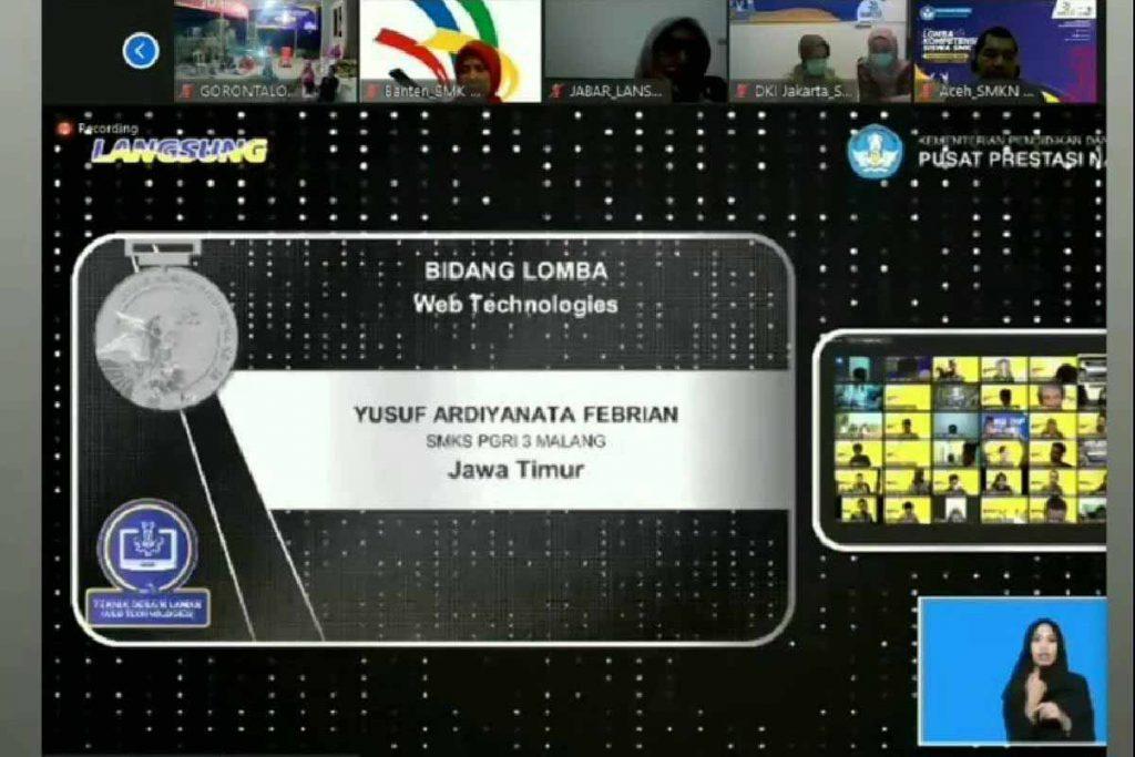 Pengumuman nama Yusuf Ardiyanata Febrian, sebagai juara lomba bidang Web Design Technology. (ist)