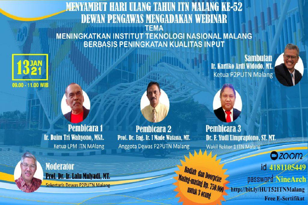 Webinar Dies Natalis 52 ITN Malang. (ist) - Jelang Dies Natalis 52, ITN Malang Dorong Peningkatan SDM Sivitas Akademik