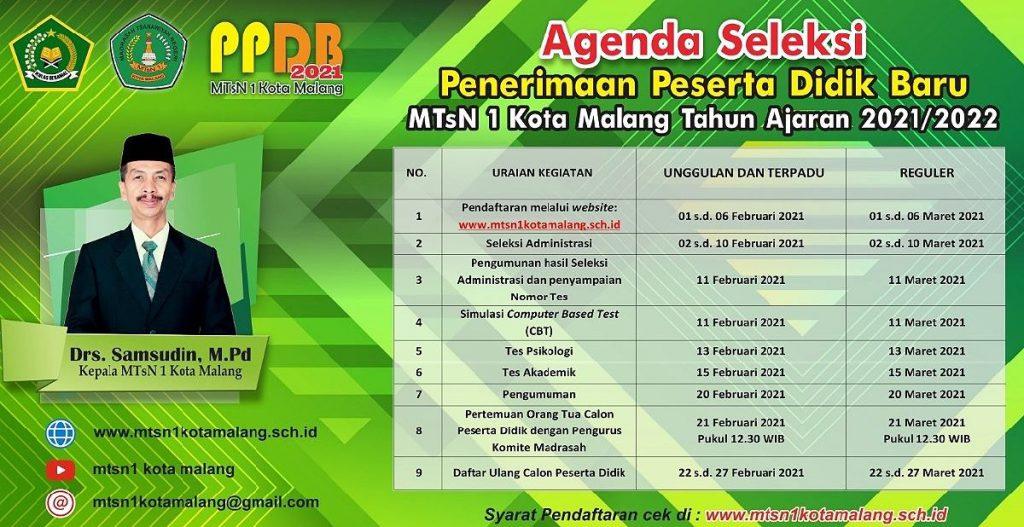 Agenda seleksi PPDB Online MTsN 1 Kota Malang tahun ajaran 2021/2022. (ist) - PPDB Online MTsN 1 Kota Malang Jalur Reguler Dibuka 1 Maret 2021