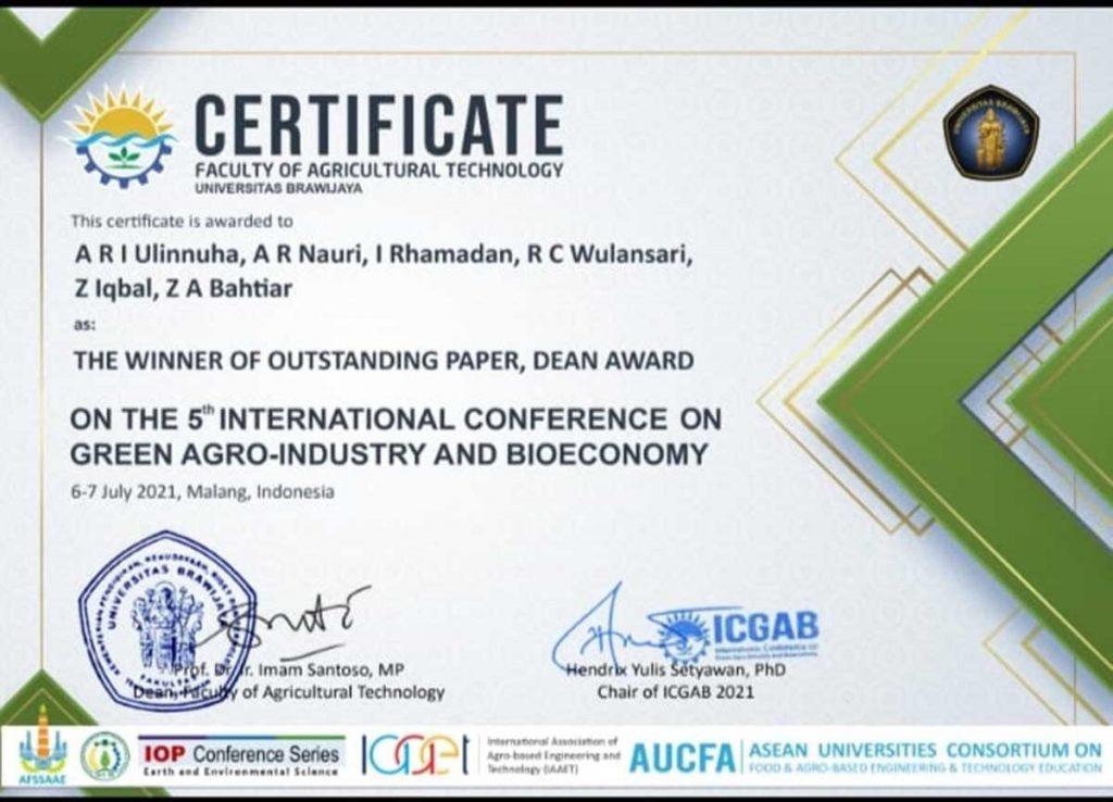 Penghargaan Outstanding Paper pada Konferensi Internasional dari ICGAB. (ist) - Mahasiwa UB Ciptakan CREATOR, Cangkir Pendeteksi Kualitas Biji Kopi