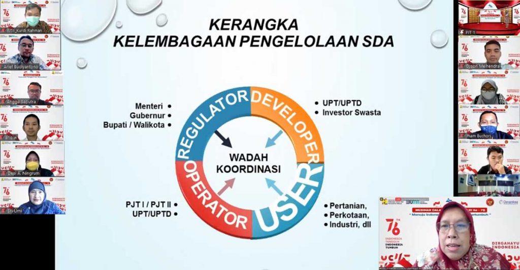 Direktur Bina Operasi dan Pemeliharaan, Ir Lilik Cahyadiningsih MA memaparkan materi. (ist) - Semarak HUT ke-76 RI, Jasa Tirta I Bangun Wawasan Kebangsaan Pengelola Sumberdaya Air