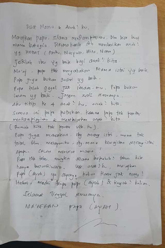 Surat wasiat pria bunuh diri di Suramadu. (ist) - Begini Isi Surat Wasiat Pria Bunuh Diri Lompat dari Jembatan Suramadu