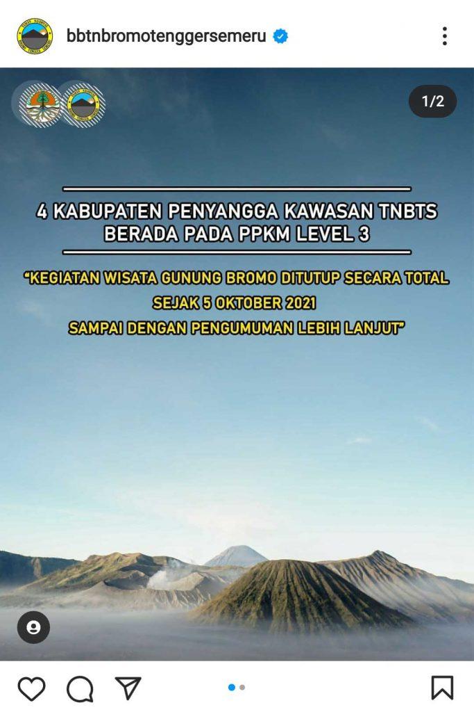 Pengumuman TNBTS ditutup kembali. (IG) - Wisata Bromo Tengger Semeru Kembali Ditutup